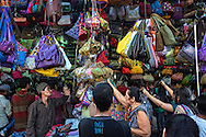 People shopping for bags at Linking Road.
