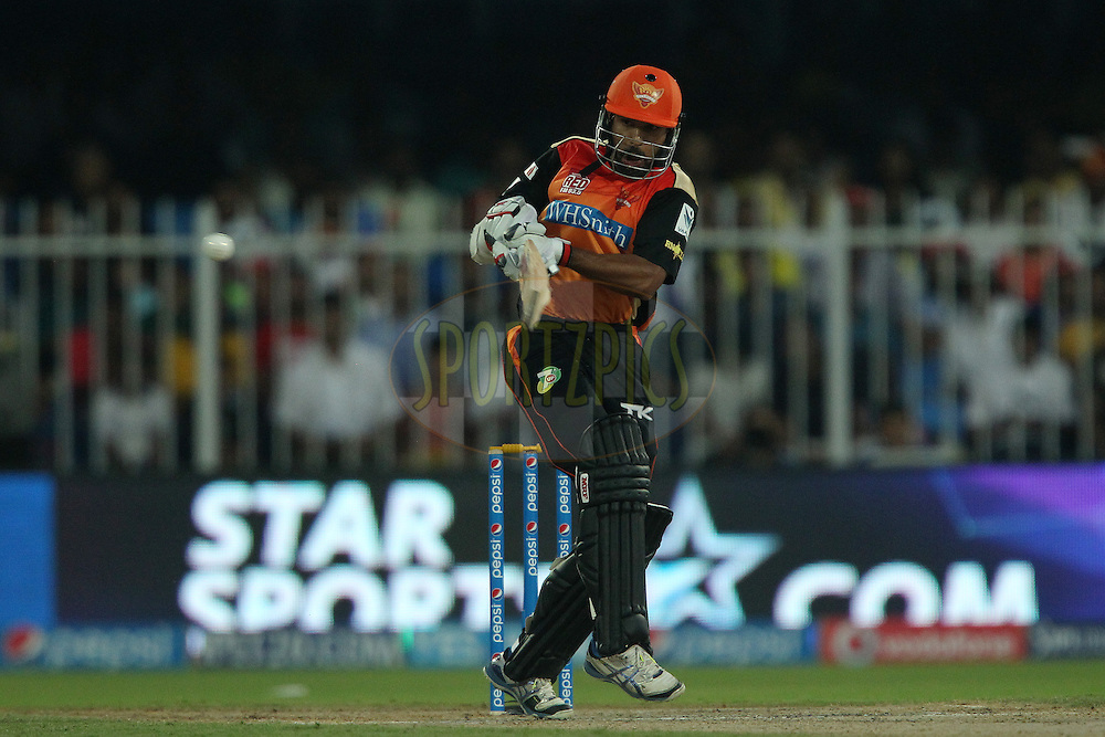 Shikhar Dhawan captain of the Sunrisers Hyderabad hits out and is caught during match 17 of the Pepsi Indian Premier League 2014 between the Sunrisers Hyderabad and the Chennai Superkings held at the Sharjah Cricket Stadium, Sharjah, United Arab Emirates on the 27th April 2014<br /> <br /> Photo by Ron Gaunt / IPL / SPORTZPICS