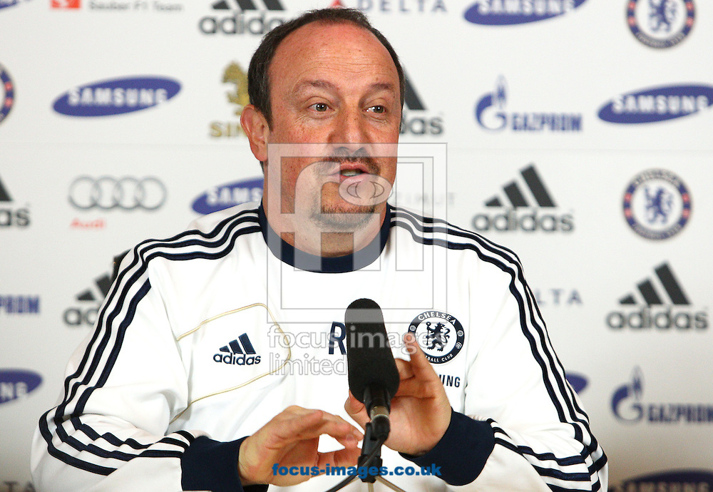 Picture by Paul Terry/Focus Images Ltd +44 7545 642257.01/03/2013.Interim Manager, Rafa Benitez pictured talking to the media during a Chelsea press conference at Chelsea Training Ground, Cobham.