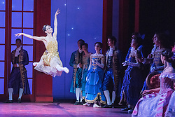 © Licensed to London News Pictures. 08/07/2015. London, UK. Inspired by the Brothers Grimm fairy tale, Christopher Wheeldon has created a dream-like ballet, set to Prokofiev's magnificent score – performed live by the Royal Ballet Sinfonia – and full of lavish sets and costumes by Julian Crouch, and stunning stage effects. Picture features Anna Tsygankova as Cinderella. Photo credit : Tony Nandi/LNP