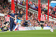 Sheffield Wednesday Forward Atdhe Nuhiu on the ball during the Sky Bet Championship match between Brentford and Sheffield Wednesday at Griffin Park, London, England on 26 September 2015. Photo by Phil Duncan.