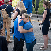 THURSDAY, FEBRUARY 15- 2018---PARKLAND, FLORIDA--<br /> Janis Horseman receives a hug during a press conference outside Marjory Stoneman Douglass High School one day after a mass shooting with 17 casualties.<br /> (Photo by Angel Valentin/FREELANCE)
