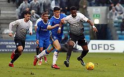 Omar Bogle of Peterborough United in action with Callum Reilly of Gillingham - Mandatory by-line: Joe Dent/JMP - 10/02/2018 - FOOTBALL - MEMS Priestfield Stadium - Gillingham, England - Gillingham v Peterborough United - Sky Bet League One
