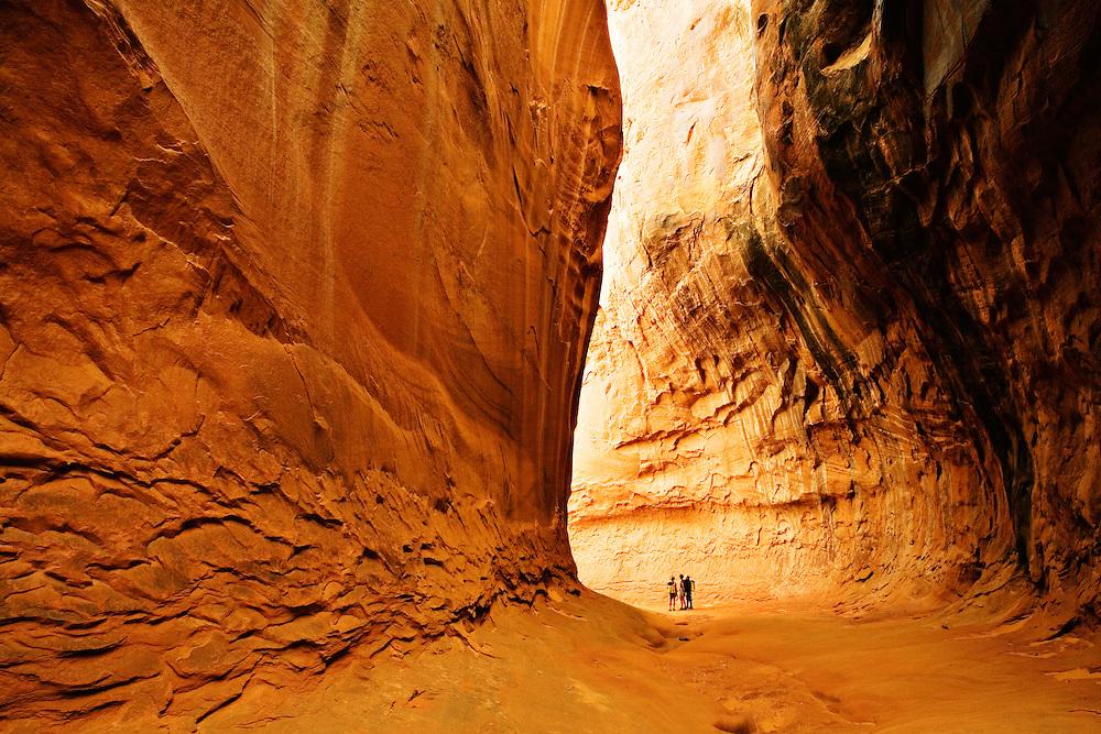 Canyoneers in Leprechaun Canyon. North Wash, Utah.