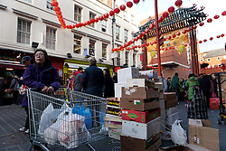 © licensed to London News Pictures. London, UK 22/01/12. People fill Chinatown in London for shopping and sharing the excitement of Chinese New Year on the day before Chinese New Year's Eve. Photo credit: Tolga Akmen/LNP