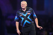 Andy Boulton reaction after missing a dart at a double during the PDC William Hill World Darts Championship at Alexandra Palace, London, United Kingdom on 15 December 2019.
