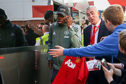 Manchester United Midfielder Paul Pogba arrives off club coach before the Premier League match between Bournemouth and Manchester United at the Vitality Stadium, Bournemouth, England on 18 April 2018. Picture by Phil Duncan.
