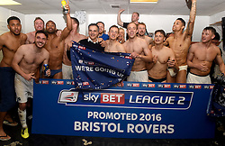 Bristol rovers players celebrate promotion from Sky Bet League 2 up to Sky Bet League 1 with Club President Wael al Qadi  - Mandatory by-line: Joe Meredith/JMP - 07/05/2016 - FOOTBALL - Memorial Stadium - Bristol, England - Bristol Rovers v Dagenham and Redbridge - Sky Bet League Two