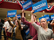 02 MARCH 2020 - ST. PAUL, MINNESOTA: People listen to US Senator Bernie Sanders (Ind-VT) at a Sanders Get Out the Vote rally in the RiverCentre in St. Paul. More than 8,400 people attended the rally. Minnesota is a Super Tuesday state this year and Minnesotans will go to the polls Tuesday. Minnesota Sen. Amy Klobuchar was expected to win her home state, but she dropped out early Monday, March 2.         PHOTO BY JACK KURTZ