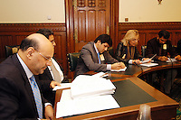 LONDON, 9 Nov. 2005...4.30pm ? 6.00pm ? Transforming humanitarian disaster into opportunities for peace...Panelists from left to right: Barrister Majid Tramboo ? International Council for Human Rights Kashmir Centre, Professor Nazir Shawl, Executive Director Justice Foundation, Ali Dayan Hasan ? Pakistan Researcher for Human Rights Watch, Victoria Schofield, journalist and author of  ?Kashmir in Conflict?.....The Justice Foundation Kashmir Centre London together with the All-Party Parliamentary Group (APPG) on Kashmir organised a meeting in the House of Commons entitled ?Kashmir After the Earthquake ? Rebuilding Together.? ..
