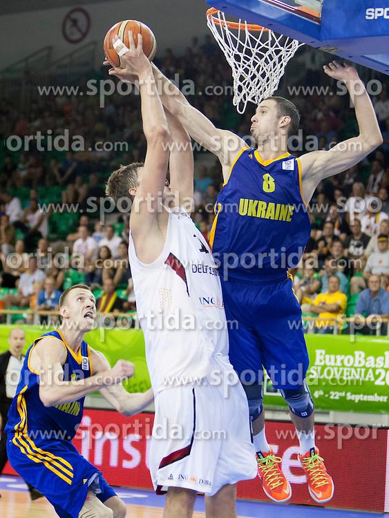 Sergii Gladyr #8 of Ukraine during basketball match between National teams of Germany and Ukraine at Day 3 of Eurobasket 2013 on September 6, 2013 in Tivoli Hall, Ljubljana, Slovenia. (Photo By Urban Urbanc / Sportida )