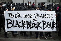 © Licensed to London News Pictures. 16/04/2017. Paris, France. Black Block . Antifascist protesters opposed to a meeting by French far-right party , Front National , hold a demonstration in the North East of Paris . Photo credit: Joel Goodman/LNP