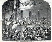 A sitting of the German National Assembly, Frankfort, 1848.   From 'The Illustrated London News' (London, 7 October 1848).