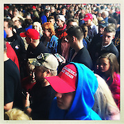 Trump supporters waiting to get into the rally.<br /> Donald Trump's primary rally in West Virginia's state capital at the Charleston Civic Center. After Cruz and Kasich bowed out of the race for the Republican Party, Trump, the presumptive Republican election candidate was in West Virginia celebrating a victory lap.<br /> Trump has promised to re-open closed coal mines and get miners back to work, a very popular platform in this coal state which is one of the nation's poorest.