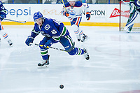PENTICTON, CANADA - SEPTEMBER 16: Curtis Valk #43 of Vancouver Canucks skates for the puck against the Edmonton Oilers on September 16, 2016 at the South Okanagan Event Centre in Penticton, British Columbia, Canada.  (Photo by Marissa Baecker/Shoot the Breeze)  *** Local Caption *** Curtis Valk;