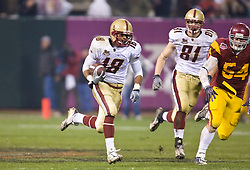 Dec 26, 2009; San Francisco, CA, USA;  Boston College Eagles wide receiver Rich Gunnell (18) rushes down field on a 61 yard touchdown during the second quarter against the Southern California Trojans in the 2009 Emerald Bowl at AT&T Park.  USC defeated BC 24-13.