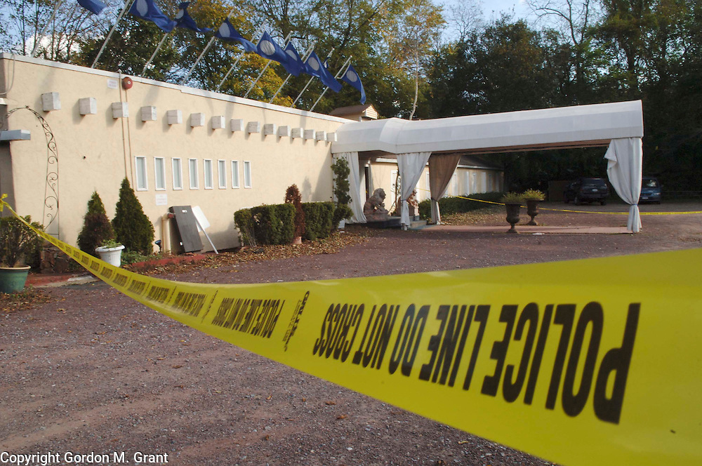 liStab - East Hampton, NY - 10/29/05 - Police tape in front of the Resort nightclub on Three Mile Harbor Road in East Hampton, NY October 29, 2005, the scene of a triple stabbing at a teen night the night before.      (Photo by Gordon M. Grant)   .