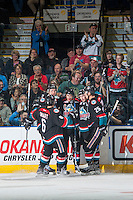 KELOWNA, CANADA - SEPTEMBER 24:  Jordan Borstmayer #11 of the Kelowna Rockets celebrates his first goal of the WHL regular season against the Kamloops Blazerson September 24, 2016 at Prospera Place in Kelowna, British Columbia, Canada.  (Photo by Marissa Baecker/Shoot the Breeze)  *** Local Caption *** Jordan Borstmayer;