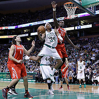 06 March 2012: Boston Celtics small forward Paul Pierce (34) goes for the layup against Houston Rockets center Samuel Dalembert (21) during the Boston Celtics 97-92 (OT) victory over the Houston Rockets at the TD Garden, Boston, Massachusetts, USA.