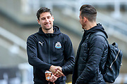 Fabian Schar (#5) of Newcastle United shakes hands with Martin Dubravka (#12) of Newcastle United as they arrive ahead of the Premier League match between Newcastle United and Watford at St. James's Park, Newcastle, England on 3 November 2018.