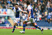 Goalscorer Craig Conway of Blackburn Rovers celebrates with Jason Lowe of Blackburn Rovers after scoring the opening goal to make it 1-0 during the EFL Sky Bet Championship match between Blackburn Rovers and Burton Albion at Ewood Park, Blackburn, England on 20 August 2016. Photo by Simon Brady.