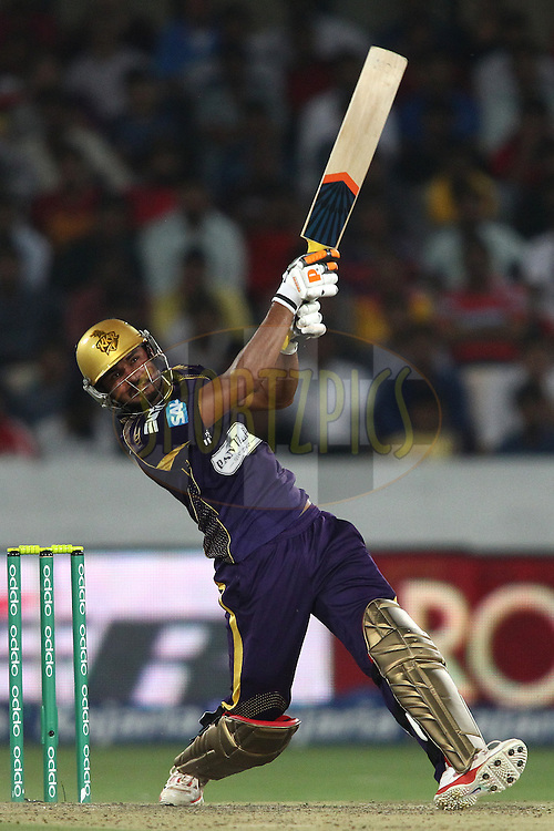 Manish Pandey of the Kolkata Knight Riders attacks the free hit ball during the first semi final match of the Oppo Champions League Twenty20 between the Kolkata Knight Riders and the Hobart Hurricanes held at the Rajiv Gandhi Cricket Stadium, Hyderabad, India on the 2nd October 2014<br /> <br /> Photo by:  Shaun Roy / Sportzpics/ CLT20<br /> <br /> <br /> Image use is subject to the terms and conditions as laid out by the BCCI/ CLT20.  The terms and conditions can be downloaded here:<br /> <br /> http://sportzpics.photoshelter.com/gallery/CLT20-Image-Terms-and-Conditions-2014/G0000IfNJn535VPU/C0000QhhKadWcjYs