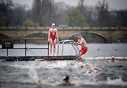 "Competitiors from the Serpentine Swimming Club take to the Serpentine Lake, Hyde Park, London during the annual ""Peter Pan Cup""  handicap race, 25th December 2009"