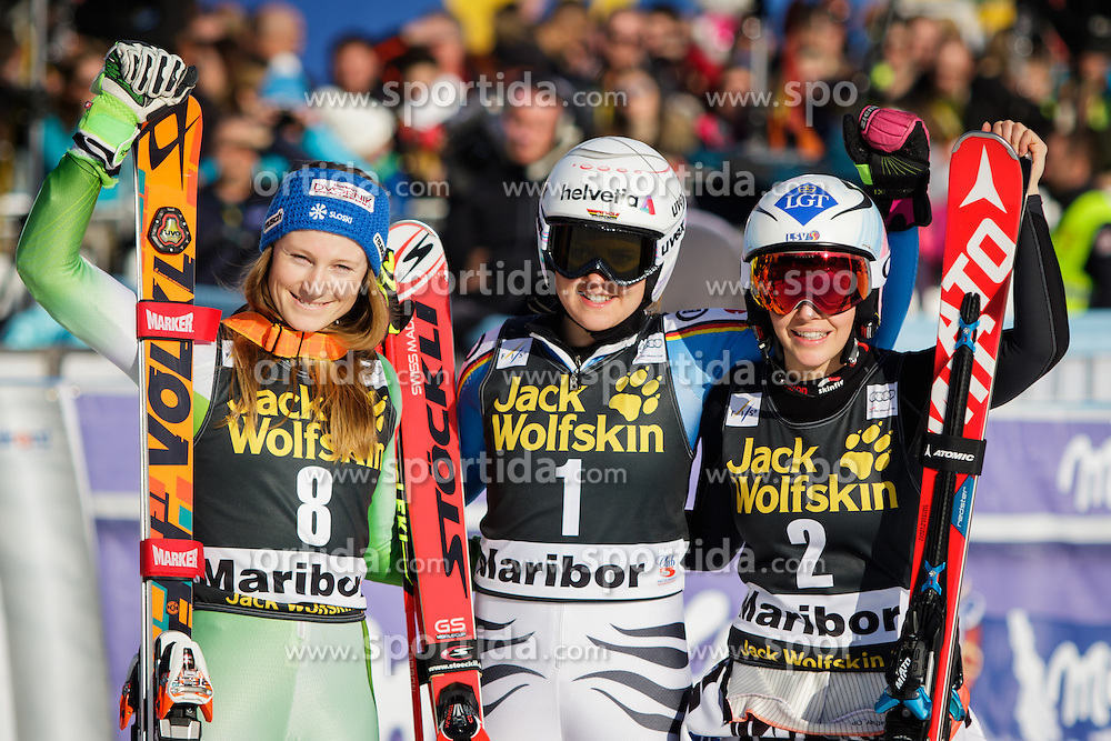 (from left) Second placed Ana Drev (SLO), first placed Viktoria Rebensburg (GER) and third placed Tina Weirather (LIE) after the 7th Ladies' Giant slalom at 52nd Golden Fox - Maribor of Audi FIS Ski World Cup 2015/16, on January 30, 2016 in Pohorje, Maribor, Slovenia. Photo by Ziga Zupan / Sportida