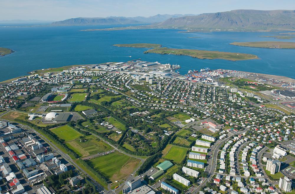 Laugardalur, Vogar, Langholt og Laugarás séð til norðurs, Reykjavík. /   Laugardalur sport grounds and park, Vogar, Langholt and Laugaras residential districts viewing north, Reykjavik