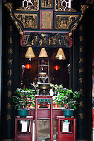 Looking into the doorway of a small Buddhist temple in Macau.