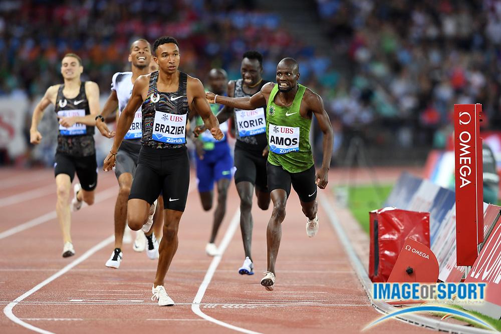 Donavan Brazier (USA) defeats Nigel Amos (BOT) to win the 800m, 1:42.70 to 1:42.98, in the IAAF Diamond League final during the Weltkasse Zurich at Letzigrund Stadium, Thursday, Aug. 29, 2019, in Zurich, Switzerland. (Jiro Mochizuki/Image of Sport)
