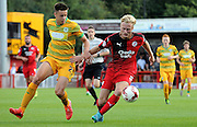 Christian Scales looks to go forward for Crawley during the Sky Bet League 2 match between Crawley Town and Yeovil Town at the Checkatrade.com Stadium, Crawley, England on 19 September 2015. Photo by Michael Hulf.