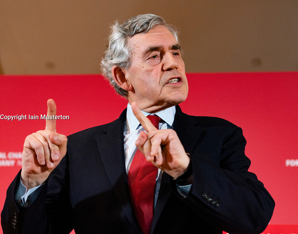 Former Prime Minister Gordon Brown at launch of Scottish Labour's European Elections campaign at The Lighthouse in Glasgow ,May 2019.