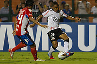 20120307: SAO PAULO, BRAZIL - Player Mazacotte and Jorge Henrique during Corinthians (Brasil) vs Nacional (Paraguai) for Copa Libertadores held at Pacaembu stadium in SP<br />