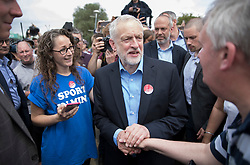 © Licensed to London News Pictures. 31/05/2017. Reading, UK. Leader of the Labour Party JEREMY CORBYN mingles with supporters during a rally at Rivermead Leisure Centre in Reading, Berkshire, ahead of a general election on June 8. Mr Corbyn has announced that he will join an seven way election debate tonight in Cambridge. Prime Minister Theresa May has said she will not attend. Photo credit: Peter Macdiarmid/LNP