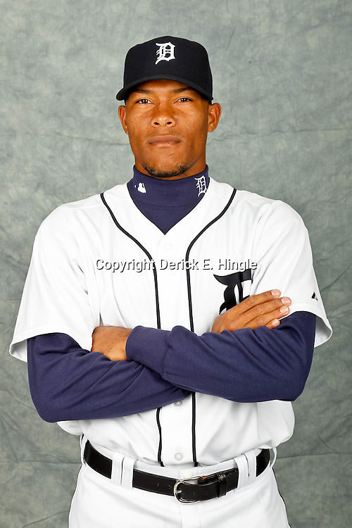 February 28, 2012; Lakeland, FL, USA; Detroit Tigers relief pitcher Jose Ortega (56) poses for photo day in the rec room at the Detroit Tigers Headquarters.  Mandatory Credit: Derick E. Hingle-US PRESSWIRE