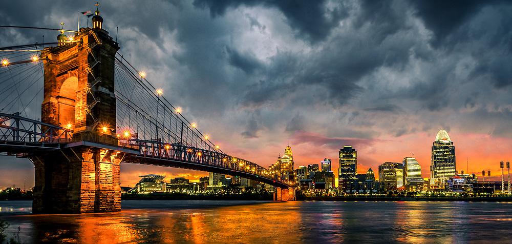 John A. Roebling Suspension Bridge over Ohio river and Cincinnati Skyline.