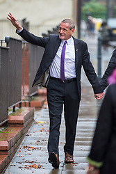 © Licensed to London News Pictures. 21/10/2019. Leeds UK. Dean Walls arrives at Leeds Crown Court this morning. 5 members of Leeds based paedophile hunting group Predator Exposure are appearing at Leeds Crown Court today. Phillip Hoban, Jordan McDonald, Jordan Plain, Dean Walls and Kelly Meadows are all accused of false imprisonment of a man in Chapel Allerton, Leeds. Hoban, 44, McDonald, 18, Plain, 25, and Walls, 51, also denied assaulting same man on same date, Hoban, Meadows, 39, and McDonald denied further charge of false imprisonment of another man in Ackton, near Pontefract.Photo credit: Andrew McCaren/LNP