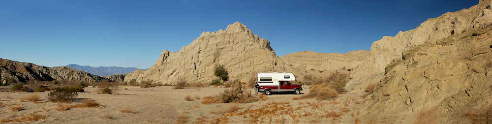 Panorama,Camper at Box Canyon near Salton Sea,  California, United States of America