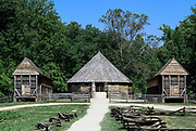 16-sided barn of George Washington's design located on the Pioneer Farm estate, Mt Vernon, Virginia, USA