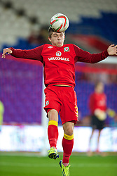 CARDIFF, WALES - Friday, October 11, 2013: Wales' Declan John warms-up before the 2014 FIFA World Cup Brazil Qualifying Group A match against Macedonia at the Cardiff City Stadium. (Pic by David Rawcliffe/Propaganda)