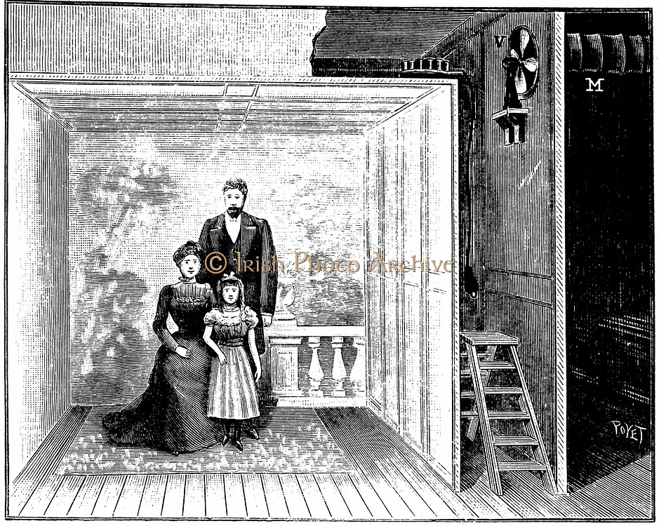 Boyer's photographic studio, a wooden framework with gauze-like material stretched over it. This produced an evenly diffused light when the magnesium flash on the top right of the framework was fired by pressing button on bulb at end of wire.  From 'La Nature', Paris, 1899. Engraving.