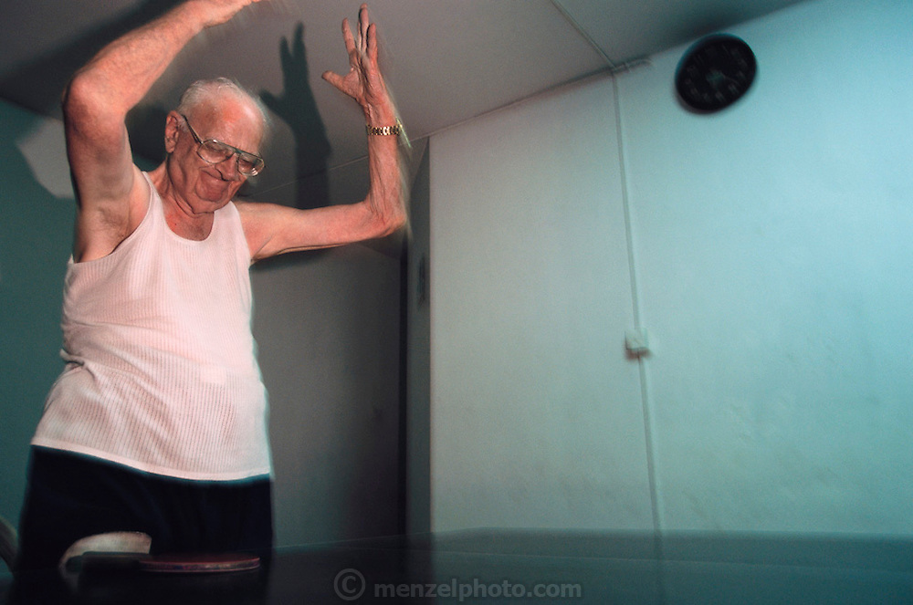 Sir Arthur C. Clarke in Colombo, Sri Lanka. Daily table tennis at the Otter Club. (He has post-polio syndrome) Best known for the book 2001: A Space Odyssey. MODEL RELEASED
