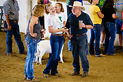 16 JULY 2020 - BOONE, IOWA: Spectators at the meat goat judging on the first day of the Boone County Fair in Boone. Summer is county fair season in Iowa. Most of Iowa's 99 counties host their county fairs before the Iowa State Fair. In 2020, because of the COVID-19 (Coronavirus) pandemic, many county fairs were cancelled, and most of the other county fairs were scaled back to concentrate on 4H livestock judging. Boone county scaled back its fair this year. The Iowa State Fair was cancelled completely. Boone County Emergency Management did not approve going ahead with the fair, and has advised anyone who goes to the fair to take precautions and monitor themselves for symptoms of the Coronavirus.            PHOTO BY JACK KURTZ