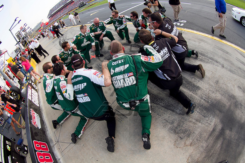 CONCORD, NC - MAY 21, 2011:  Dale Earnhardt, Jr's team prepares to for the Showdown at the Charlotte Motor Speedway in Concord, NC.