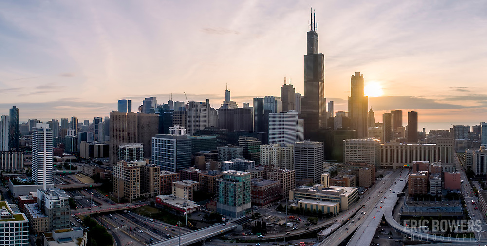 Sunrise aerial photo in 2019 of Chicago Loop from near UIC and I-290.