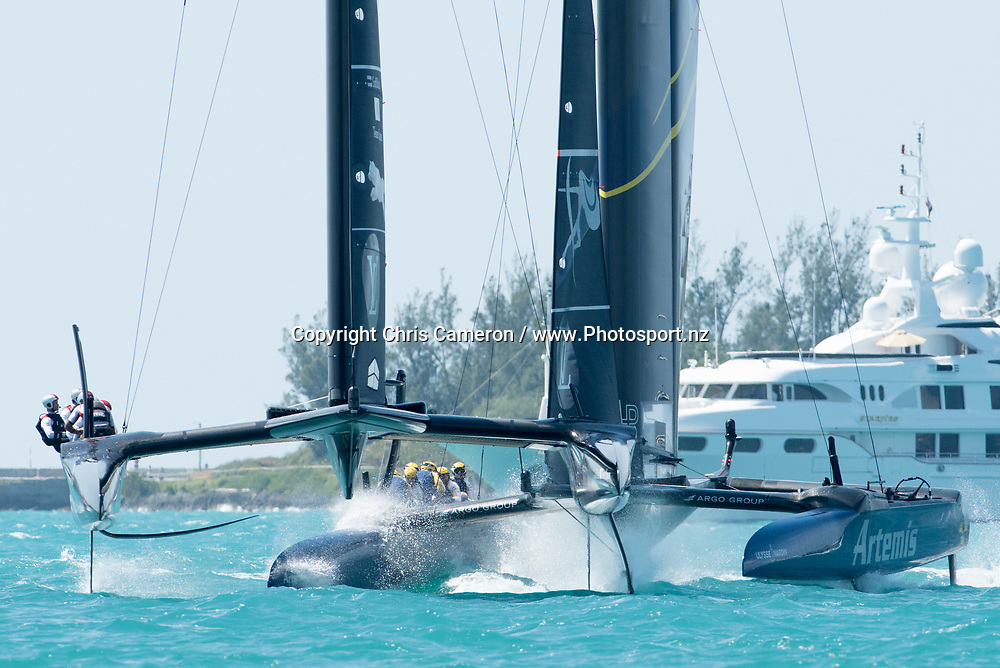 The Great Sound, Bermuda. 5th June 2017. Artemis Racing (SWE) and Soft Bank Team Japan in pre start for their second race of the Louis Vuitton America's Cup Challenger Playoff Semi-Finals. Artemis won the race. © Copyright photo: Chris Cameron / www.photosport.nz