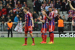 21.04.2015, Allianz Arena, Muenchen, GER, UEFA CL, FC Bayern Muenchen vs FC Porto, Halbfinale, Rückspiel, im Bild Freude bei Thomas Mueller (FC Bayern Muenchen) // during the UEFA Championsleague Semi Final 2nd Leg Match between FC Bayern Munich and FC Porto at the Allianz Arena in Muenchen, Germany on 2015/04/21. EXPA Pictures © 2015, PhotoCredit: EXPA/ Eibner-Pressefoto/ Stuetzle<br /> <br /> *****ATTENTION - OUT of GER*****