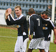 Dundee's Kevin McDonald celebrates after scoring during the IRN BRU Scottish League First Division match against Clyde at Dens Park<br /> <br /> ,<br /> Monifieth,<br /> <br /> 0776 5252616