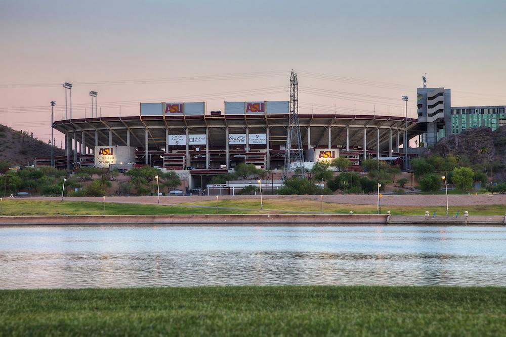Sun Devil Stadium, Arizona State University across Tempe Town Lake